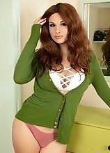 Bailey Jay's sexy green outfit could not contain her massive tits, thicc ass, and hard pulsating cock