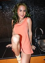 Ladyboy Green - Orange Dress Tiny Topper Creampie Ride with Pee