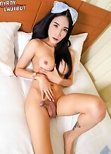Ladyboy Alice is back! This beautiful and sexy maid right here will provide you all the sensual tease you need today!