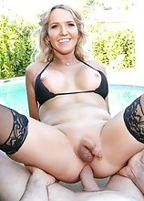 Watch Kayleigh Cox posing by the pool and riding a big cock in this POV hardcore scene!