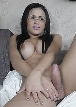 Rock hard tgirl Bruna posing