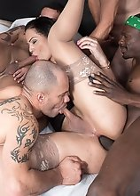 Bruna Castro has a bareback gangbang with five hung, strong men!