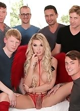 Tattooed TS superstar Aubrey Kate in anal trans gangbang that leaves Aubrey completely covered in hot sperm.